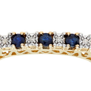 9ct Yellow Gold Diamond and Sapphire 7 Stone Eternity Ladies Ring