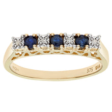 Load image into Gallery viewer, 9ct Yellow Gold Diamond and Sapphire 7 Stone Eternity Ladies Ring
