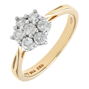9ct Yellow Gold Diamond Cluster Ladies Ring