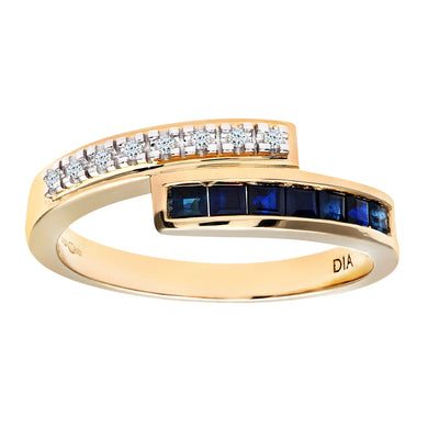 Ladies 9ct Yellow Gold Diamond & Sapphire Crossover Ladies Ring