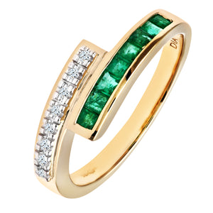 Ladies 9ct Yellow Gold Diamond and Emerald Crossover Ring