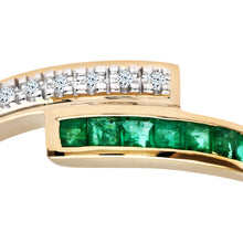 Load image into Gallery viewer, Ladies 9ct Yellow Gold Diamond and Emerald Crossover Ring