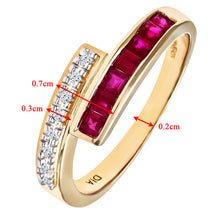 Load image into Gallery viewer, Ladies 9ct Yellow Gold Diamond and Ruby Crossover Ring