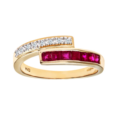 Ladies 9ct Yellow Gold Diamond and Ruby Crossover Ring