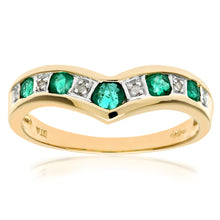 Load image into Gallery viewer, 9ct Yellow Gold Ladies Diamond and Emerald Ring