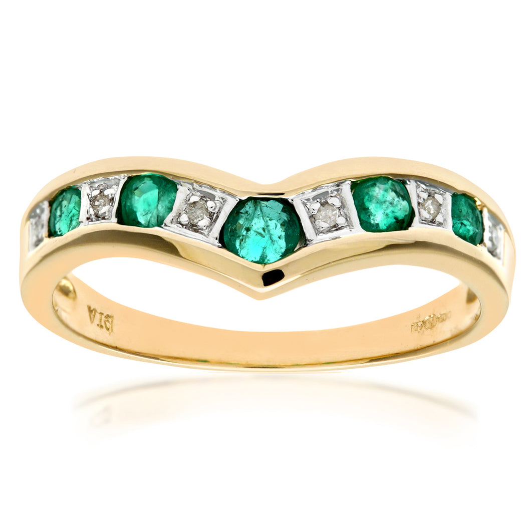 9ct Yellow Gold Ladies Diamond and Emerald Ring