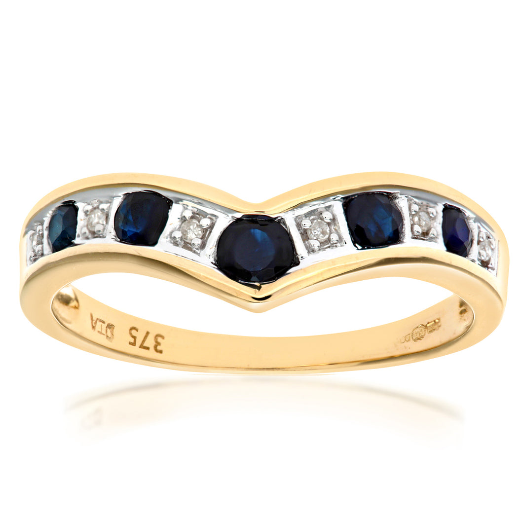 9ct Yellow Gold Ladies Diamond and Sapphire Ring