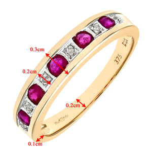 9ct Yellow Gold Ladies Diamond and Ruby Ring