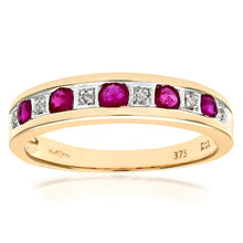 Load image into Gallery viewer, 9ct Yellow Gold Ladies Diamond and Ruby Ring