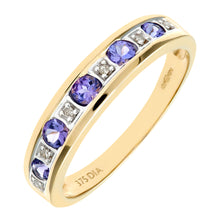 Load image into Gallery viewer, 9ct Yellow Gold Tanzanite and Diamond Eternity Ring