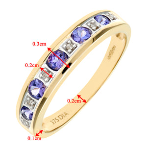 9ct Yellow Gold Tanzanite and Diamond Eternity Ring