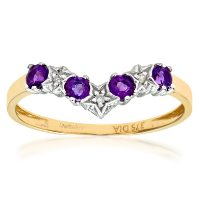 9ct Yellow Gold Amethyst And Diamond Wishbone Ring