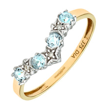 Load image into Gallery viewer, 9ct Yellow Gold Blue Topaz And Diamond Wishbone Ring