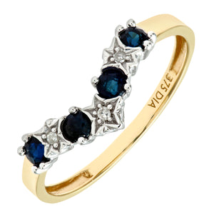 9ct Yellow Gold Sapphire And Diamond Wishbone Ring