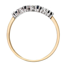 Load image into Gallery viewer, 9ct Yellow Gold Sapphire And Diamond Wishbone Ring