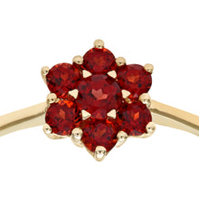 Load image into Gallery viewer, Ladies 9ct Yellow Gold Garnet Cluster Ring
