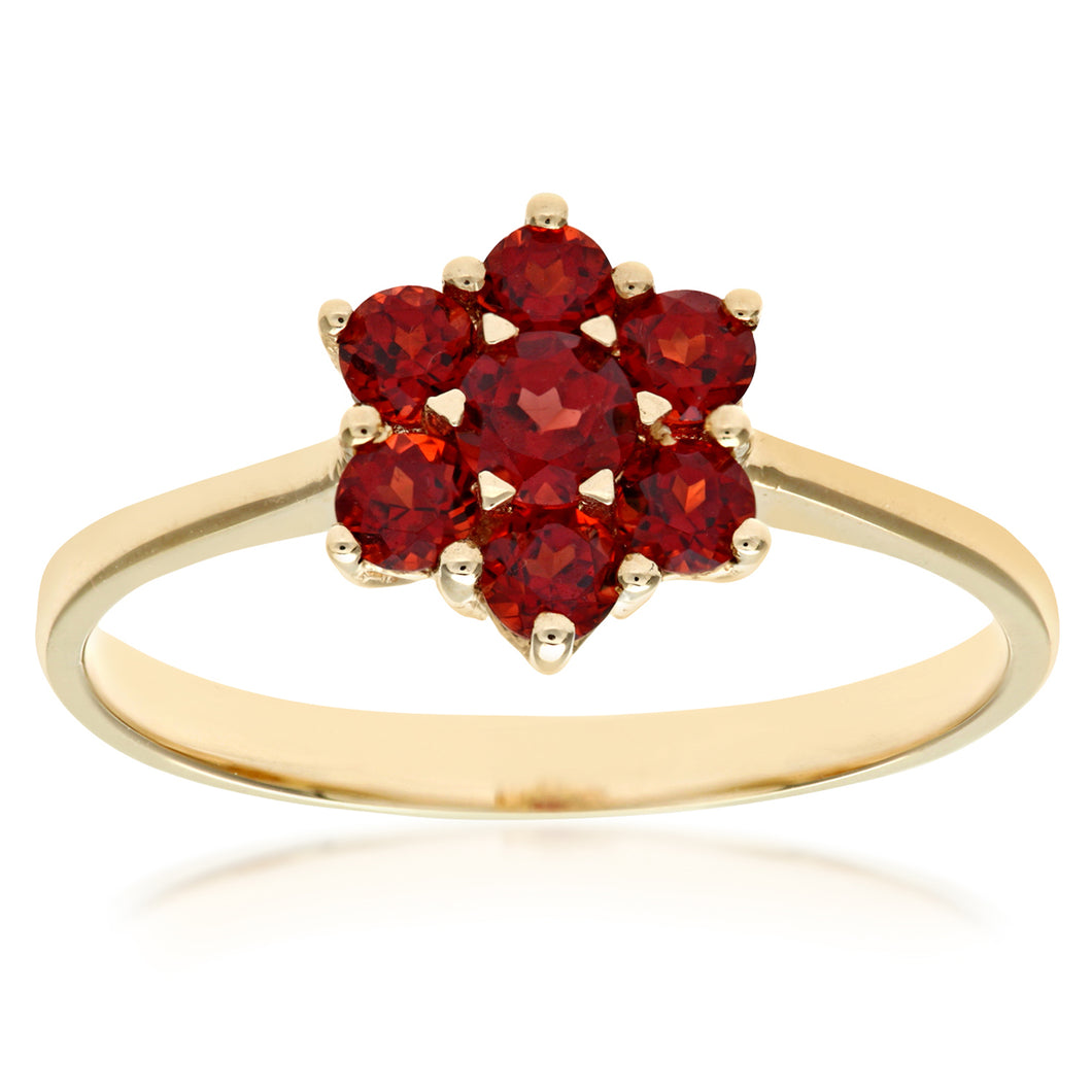 Ladies 9ct Yellow Gold Garnet Cluster Ring