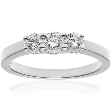 Trilogy Ring, 18ct White Gold IJ/I Round Brilliant Certified Diamond Ring, 0.50ct Diamond Weight