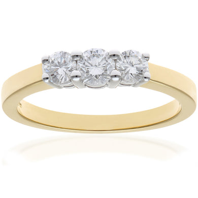 Trilogy Ring, 18ct Yellow Gold IJ/I Round Brilliant Certified Diamond Ring, 0.50ct Diamond Weight