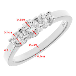 18ct White Gold Trilogy 0.75ct Diamond Ring in Claw Setting