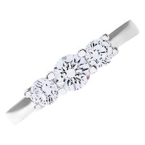 Trilogy Ring, 18ct White Gold IJ/I Round Brilliant Certified Diamond Ring, 0.75ct Diamond Weight