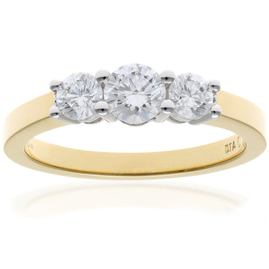 18ct Yellow Gold Trilogy 0.75ct Diamond Ring in Claw Setting