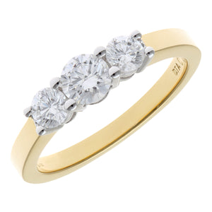 Trilogy Ring, 18ct Yellow Gold IJ/I Round Brilliant Certified Diamond Ring, 0.75ct Diamond Weight