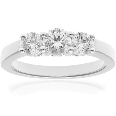 18ct White Gold Trilogy 1.00ct Diamond Ring in Claw Setting