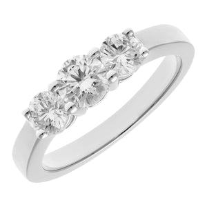 Trilogy Ring, 18ct White Gold IJ/I Round Brilliant Certified Diamond Ring, 1.00ct Diamond Weight