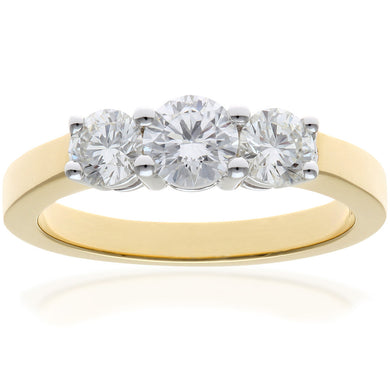 Trilogy Ring, 18ct Yellow Gold IJ/I Round Brilliant Certified Diamond Ring, 1.00ct Diamond Weight