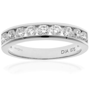 18ct White Gold 0.75ctCertified HS/I Diamond Channel Set Half Eternity Ring