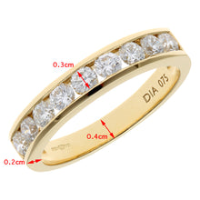 Load image into Gallery viewer, 18ct Yellow Gold 0.75ct Certified IJ/I Diamond Channel Set Half Eternity Ring