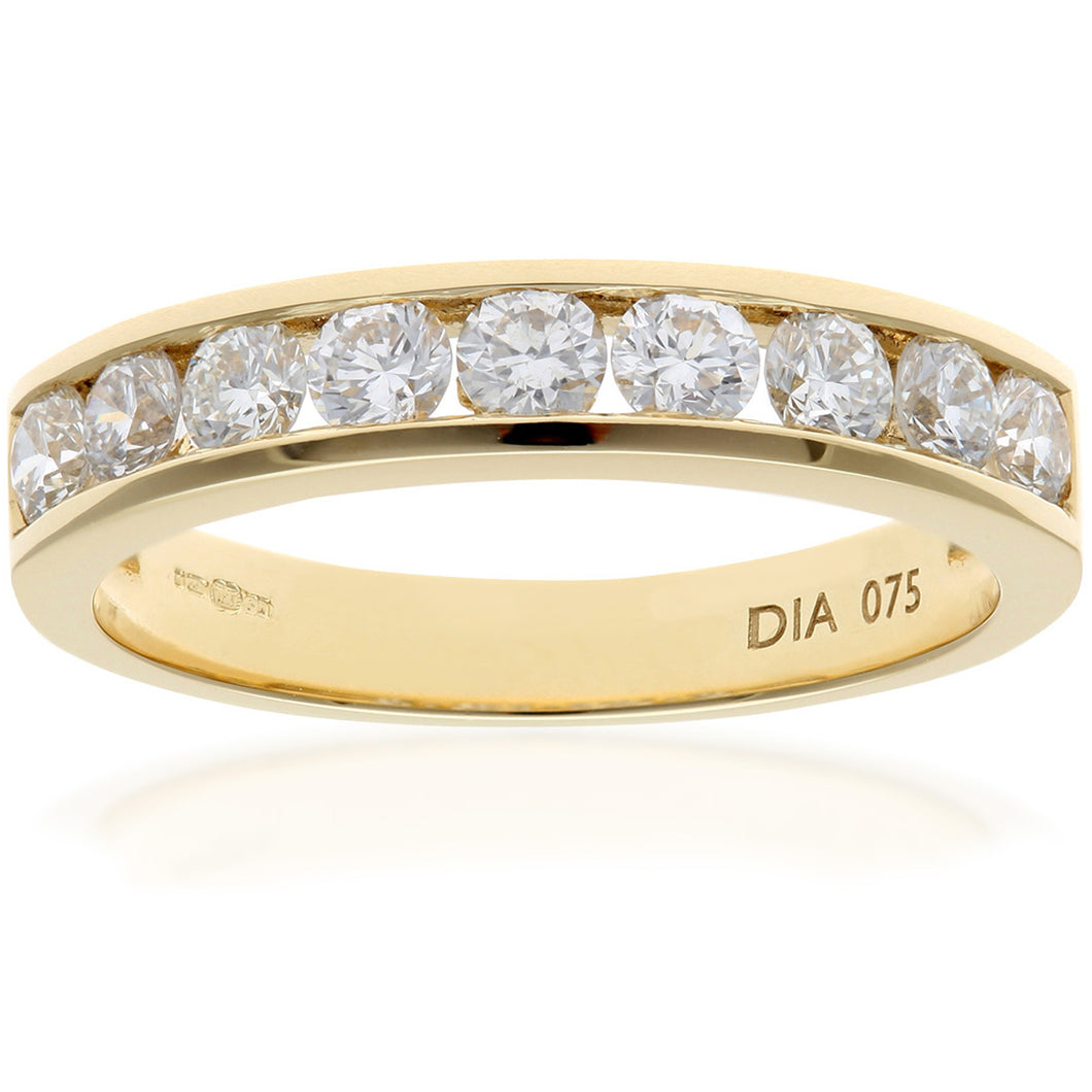 18ct Yellow Gold 0.75ct Certified IJ/I Diamond Channel Set Half Eternity Ring
