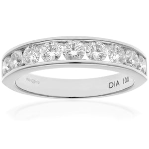 18ct White Gold 1ct Certified IJ/I Diamond Channel Set Half Eternity Ring