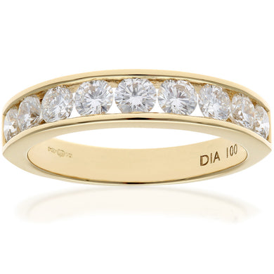 18ct Yellow Gold 1ct Certified HS/I Diamond Channel Set Half Eternity Ring