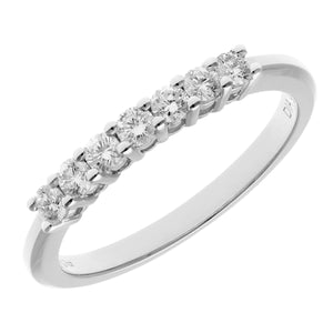 18ct White Gold 0.33ct Certified HS/I Diamond Claw Set Half Eternity Ring