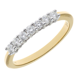 18ct Yellow Gold 0.33ct Certified HS/I Diamond Claw Set Half Eternity Ring
