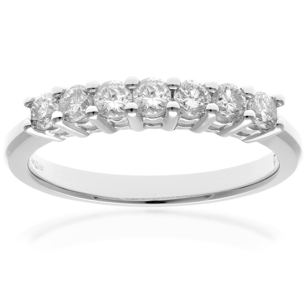 Eternity Ring, 18ct White Gold H/SI Round Brilliant Certified Diamond Ring, 0.50ct Diamond Weight