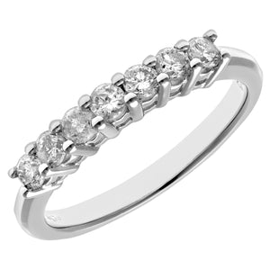 Eternity Ring, 18ct White Gold IJ/I Round Brilliant Certified Diamond Ring, 0.50ct Diamond Weight