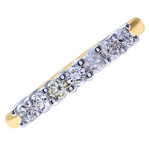 Eternity Ring, 18ct Yellow Gold H/SI Round Brilliant Certified Diamond Ring, 0.50ct Diamond Weight