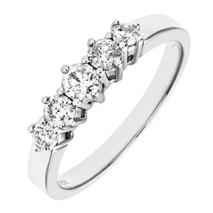 9ct White Gold 0.50ct Diamond Graduated Eternity Ring