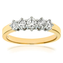 Load image into Gallery viewer, 9ct Yellow Gold 0.50ct Diamond Graduated Eternity Ring