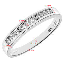 Load image into Gallery viewer, 18ct White Gold Certified Quarter Carat IJ/I Diamond Channel Set Half Eternity Ring
