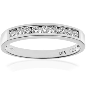 18ct White Gold Certified Quarter Carat IJ/I Diamond Channel Set Half Eternity Ring
