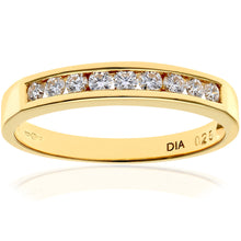Load image into Gallery viewer, 18ct Yellow Gold Quarter Carat Certified HS/I Diamond Channel Set Half Eternity Ring