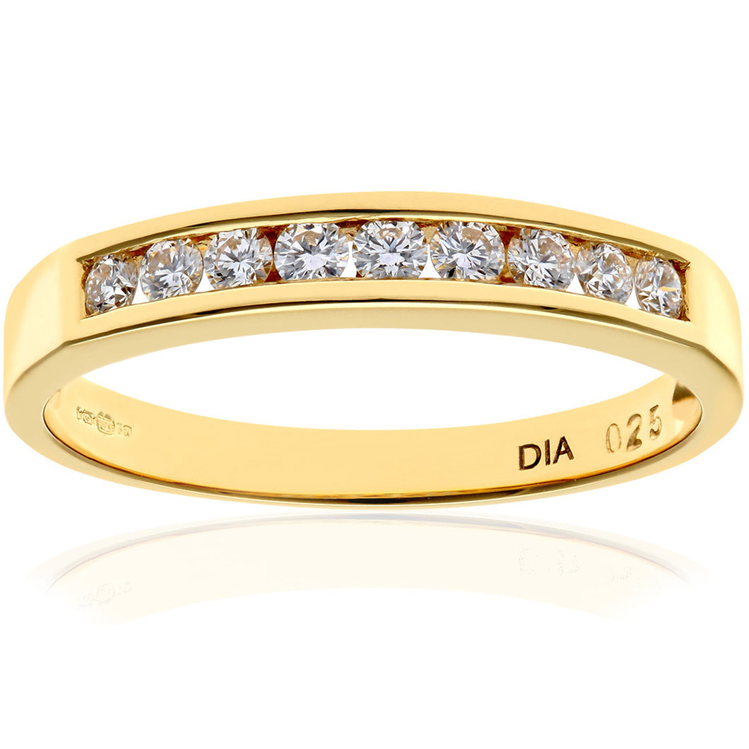 18ct Yellow Gold Quarter Carat Certified HS/I Diamond Channel Set Half Eternity Ring