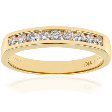 18ct Yellow Gold Certified 0.33ct IJ/I Diamond Channel Set Half Eternity Ring