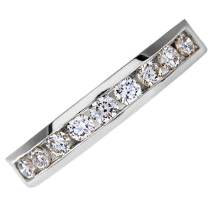 18ct White Gold Certified IJ/I Half Carat Diamond Channel Set Half Eternity Ring