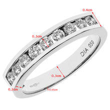 Load image into Gallery viewer, 18ct White Gold Certified IJ/I Half Carat Diamond Channel Set Half Eternity Ring