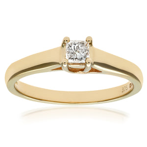 9ct Yellow Gold Diamond Single Stone Ladies Ring